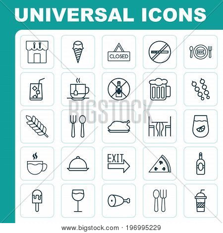 Icons Set. Collection Of Tea, Hooch, Stick Barbecue And Other Elements