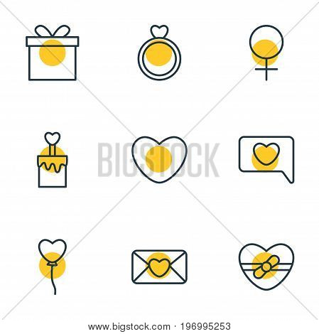 Editable Pack Of Invitation, Present, Gift And Other Elements.  Vector Illustration Of 9 Passion Icons.