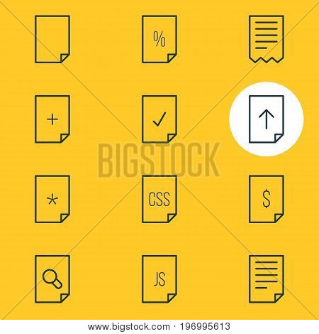 Editable Pack Of Style, Percent, Done And Other Elements.  Vector Illustration Of 12 Paper Icons.