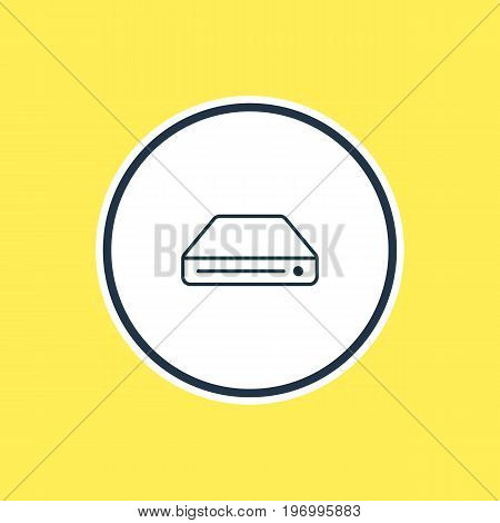 Beautiful Device Element Also Can Be Used As Memory Storage Element.  Vector Illustration Of Hard Drive Outline.
