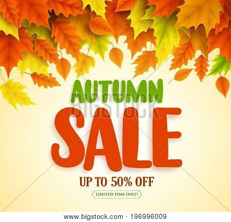 Autumn sale text vector banner design with colorful fall season leaves falling in orange background for seasonal discount marketing promotion. Vector illustration.