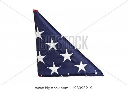 old glory bended in a triangle isolated on white background