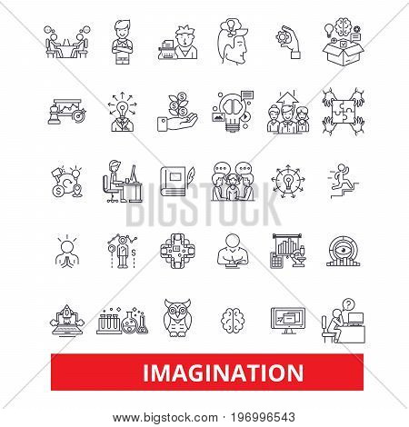 Imagination, creativity, inspiration, innovation, talent, artistry, fantasy line icons. Editable strokes. Flat design vector illustration symbol concept. Linear signs isolated on white background