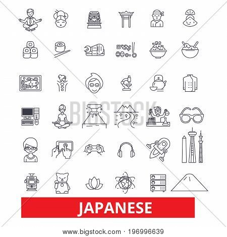 Japan, japaneese, asia, tokyo, samurai, sakura, geisha, sushi line icons. Editable strokes. Flat design vector illustration symbol concept. Linear signs isolated on white background