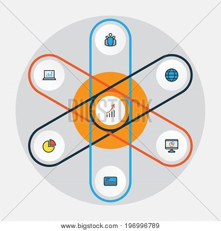 Business Colorful Outline Icons Set. Collection Of Computer Analytics, Financial Profit, Pie Chart And Other Elements