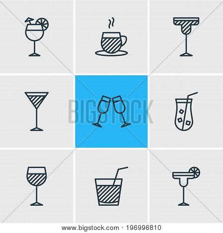 Editable Pack Of Drink, Tea Cup, Martini And Other Elements.  Vector Illustration Of 9 Drinks Icons.