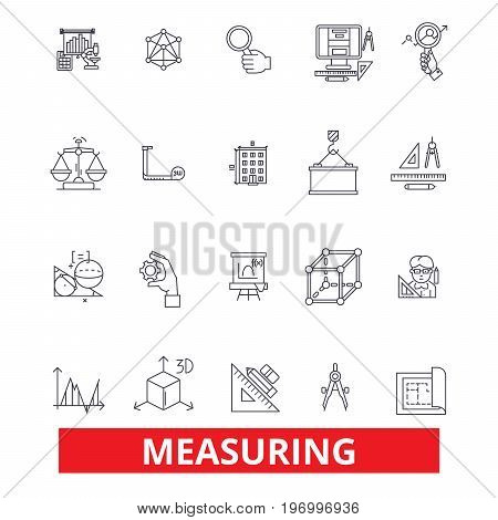 Measuring, amount, distance, quantity, dimension, size, degree, volume, capacity line icons. Editable strokes. Flat design vector illustration symbol concept. Linear signs isolated on white background