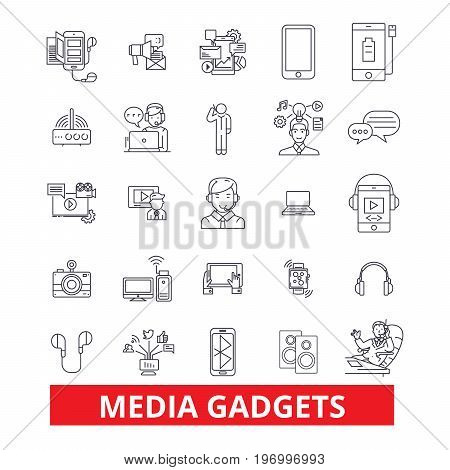 Gadget, technology, appliance, electronics, equipment, technology, gimmick, widget line icons. Editable strokes. Flat design vector illustration symbol concept. Linear signs isolated on white background