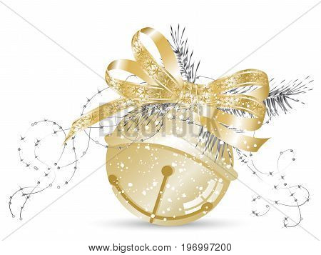 Golden jingle bell with bow and needles