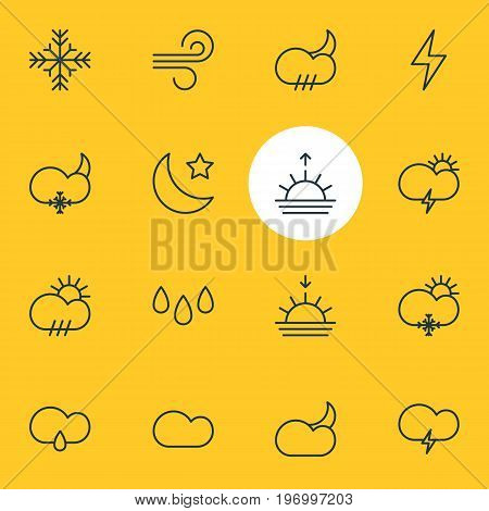 Editable Pack Of Fulminant, Sunset, Snow And Other Elements.  Vector Illustration Of 16 Sky Icons.