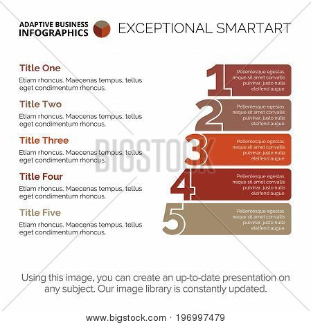 Five points diagram. Element of presentation, stairs diagram, chart. Concept for infographics, business templates, reports. Can be used for topics like marketing analysis, strategy, planning