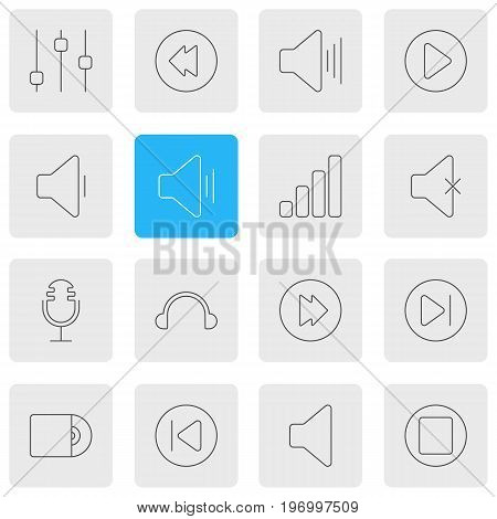 Editable Pack Of Advanced, Earphone, Subsequent And Other Elements.  Vector Illustration Of 16 Music Icons.