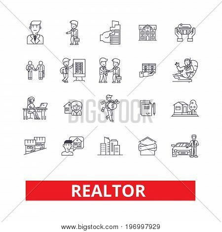 Realtor, broker, negotiator, real estate agent, representative, businessman line icons. Editable strokes. Flat design vector illustration symbol concept. Linear signs isolated on white background