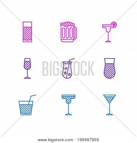Editable Pack Of Martini, Cocktail, Draught And Other Elements.  Vector Illustration Of 9 Drinks Icons.