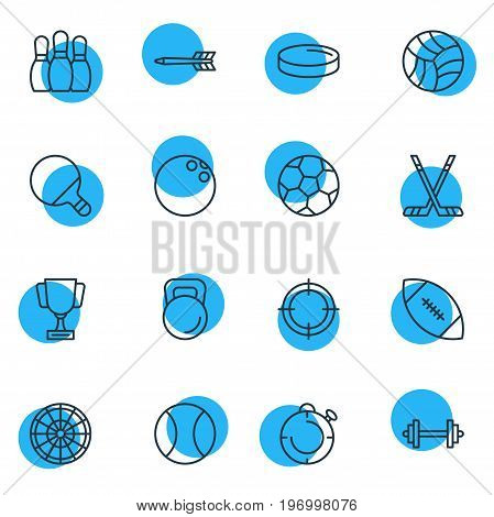 Editable Pack Of Target, Puck, Touchdown And Other Elements.  Vector Illustration Of 16 Sport Icons.