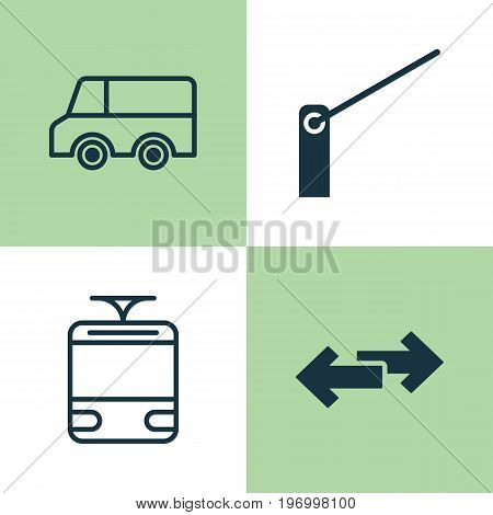 Transport Icons Set. Collection Of Streetcar, Navigation Arrows, Roadblock And Other Elements