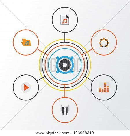 Multimedia Flat Icons Set. Collection Of Loudspeaker, Button, Controlling And Other Elements