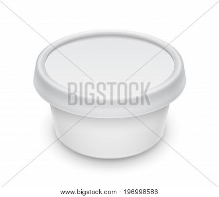 Vector white round container for cosmetics cream butter or margarine spread. Perspective view isolated over the white background. Packaging template illustration.