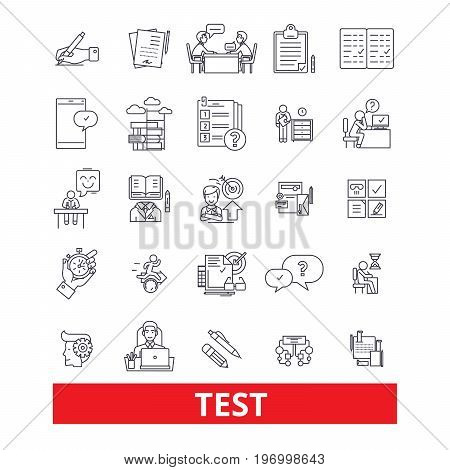 Test, exam, examination, quiz, assessment, evaluation, check line icons. Editable strokes. Flat design vector illustration symbol concept. Linear signs isolated on white background