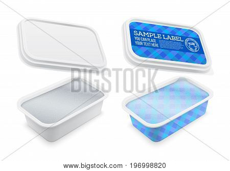 Vector square plastic container covered with foil and labeled for butter melted cheese or margarine spread. Mockup isolated over the white background. Packaging template illustration.