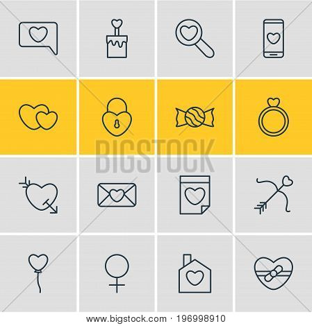 Editable Pack Of Home, Lollipop, Smartphone And Other Elements.  Vector Illustration Of 16 Love Icons.