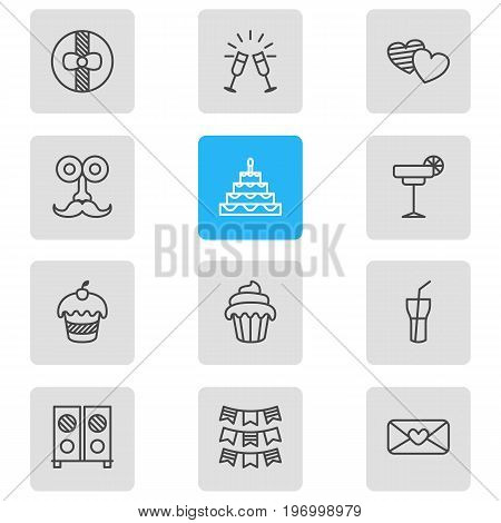 Editable Pack Of Patisserie, Gift, Heart Letter And Other Elements.  Vector Illustration Of 12 Banquet Icons.