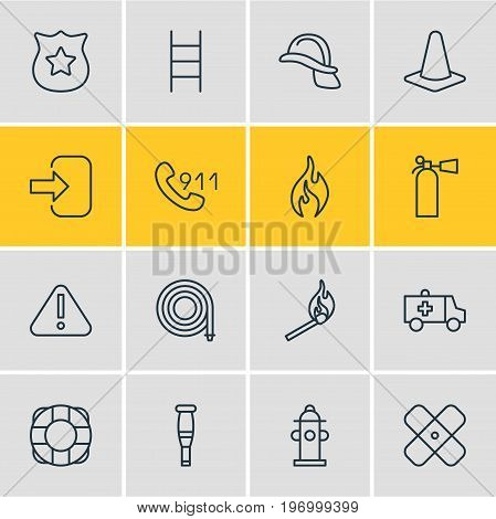 Editable Pack Of Hotline, Burn, Fire And Other Elements.  Vector Illustration Of 16 Emergency Icons.