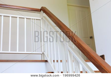 Wood Banister On Staircase Interior
