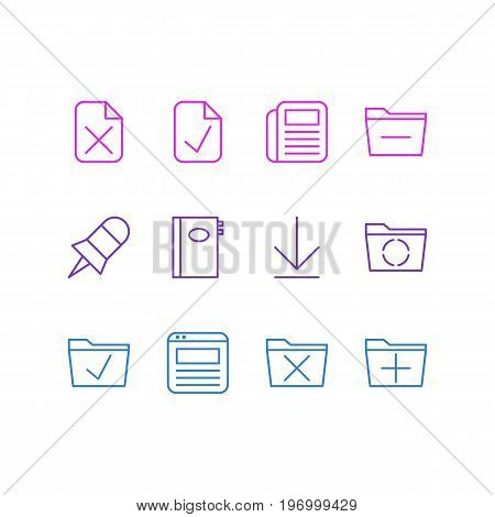 Editable Pack Of Done, Downloading, Remove And Other Elements.  Vector Illustration Of 12 Office Icons.