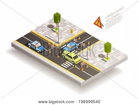 Crash road accident isometric composition with two broken cars after collision with traffic cones and signs vector illustration