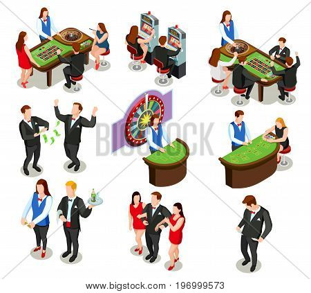 Casino isometric colored decorative icons with croupier and gamers playing roulette poker and slot machine isolated vector illustration