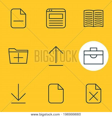 Editable Pack Of Remove, Install, Downloading And Other Elements.  Vector Illustration Of 9 Office Icons.
