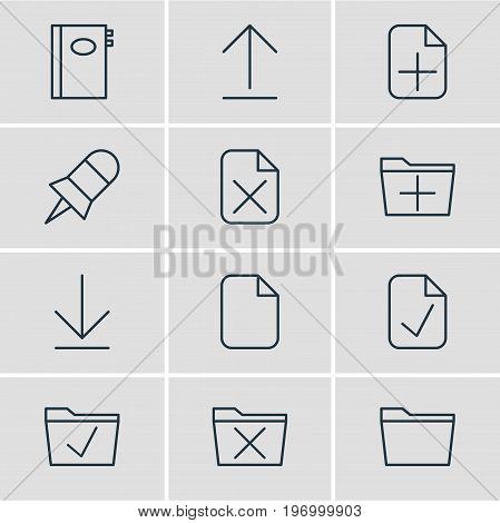 Editable Pack Of Plus, Document, Remove And Other Elements.  Vector Illustration Of 12 Office Icons.