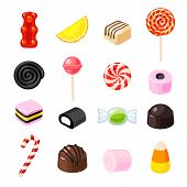 Set single cartoon candies: lollipop candy cane bonbon marmalade teddy bear licorice candied fruit. Vector collection of flat icon illustration isolated on white. poster