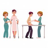 Medical rehabilitation, relearning to walk using crunches and parallel bars, cartoon vector illustration on white background. Medical rehabilitation, physical therapy, crunches and parallel bars poster