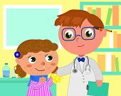 Girl with measles and doctor in pediatrician medical office, cartoon vector illustration poster