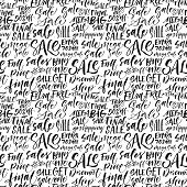 Seamless pattern of sales phrases. Sale go shopping final sale buy one get one free full price extra sale and others. Ink illustration. Hand drawn ornament for wrapping paper. poster