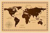 Old vintage world map. Vector illustration. Flat design. poster
