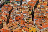 View of colorful terracotta rooftops of the Old Town Vieille Ville in Nice on the Mediterranean Sea Cote d'Azur France poster