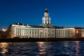 Kunstkammer on the banks of the Neva River in St. Petersburg, Russia poster