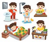 Isolated vector. The daily routine of a cute boy on a white background. [sleep brush teeth take a shower eat salad read]. poster