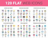 Vector set of 120 flat web icons on following themes - business and finance, design and development, network and cloud computing, SEO and web optimization, digital marketing, communication poster