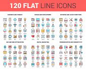 Vector set of 120 flat line web icons on following themes - business and finance, design and development, network and cloud computing, SEO and web optimization, digital marketing, communication poster