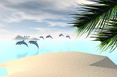 a 3 D render of dolphins at the beach poster