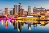 Tampa, Florida, USA downtown skyline on the river. poster
