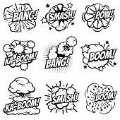 Cartoon explode icons. Comic book explosion bubbles. Pop art big bang and boom smoke clouds vector set. Blast cloud smoke, comic explosion bang and boom illustration poster