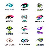 Eye blinker business icon daylight glimmer template logotype idea keeker light peeper company logo badge vector illustration. Look see creative eyeball optical watch vision emblem. poster