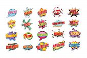 comic book words set. nice bam super love game over star you sweet surprise hey thanks fine superb bingo look amazing bye welcome awesome good. Pop art retro vector illustration poster
