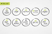100% Organic Natural Gluten Sugar GMO Free Vegan Vegetarian Farm Fresh label. Food logo icons. Vector green and white circle signs isolated. Illustration symbol for product packaging healthy eating poster