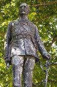 A statue of Field Marshal Sir John Fox Burgoyne situated on Waterloo Place in London UK. poster